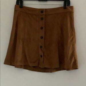 AE Faux Suede Button Front Mini Skirt